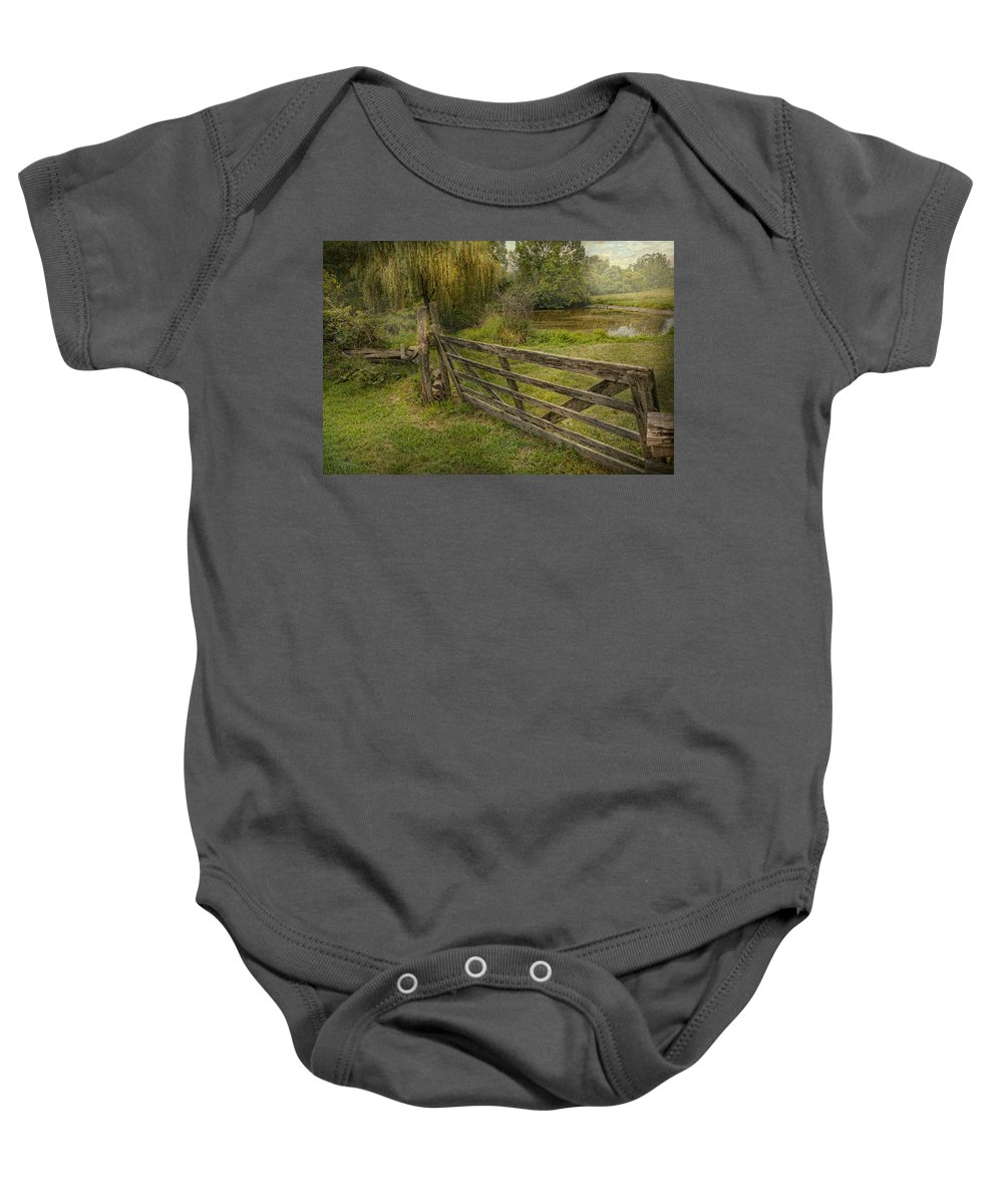 Savad Baby Onesie featuring the photograph Country - Gate - Rural Simplicity by Mike Savad