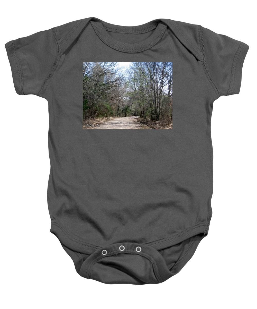 Country Road Baby Onesie featuring the photograph Country Road by Amy Hosp