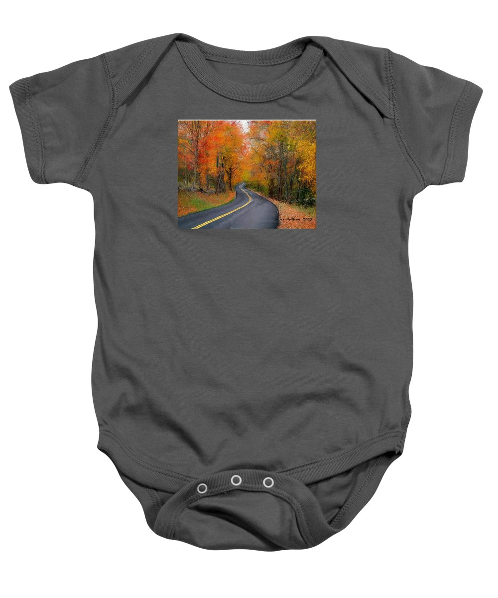 Country Road Baby Onesie featuring the painting Country Road In Autumn by Bruce Nutting