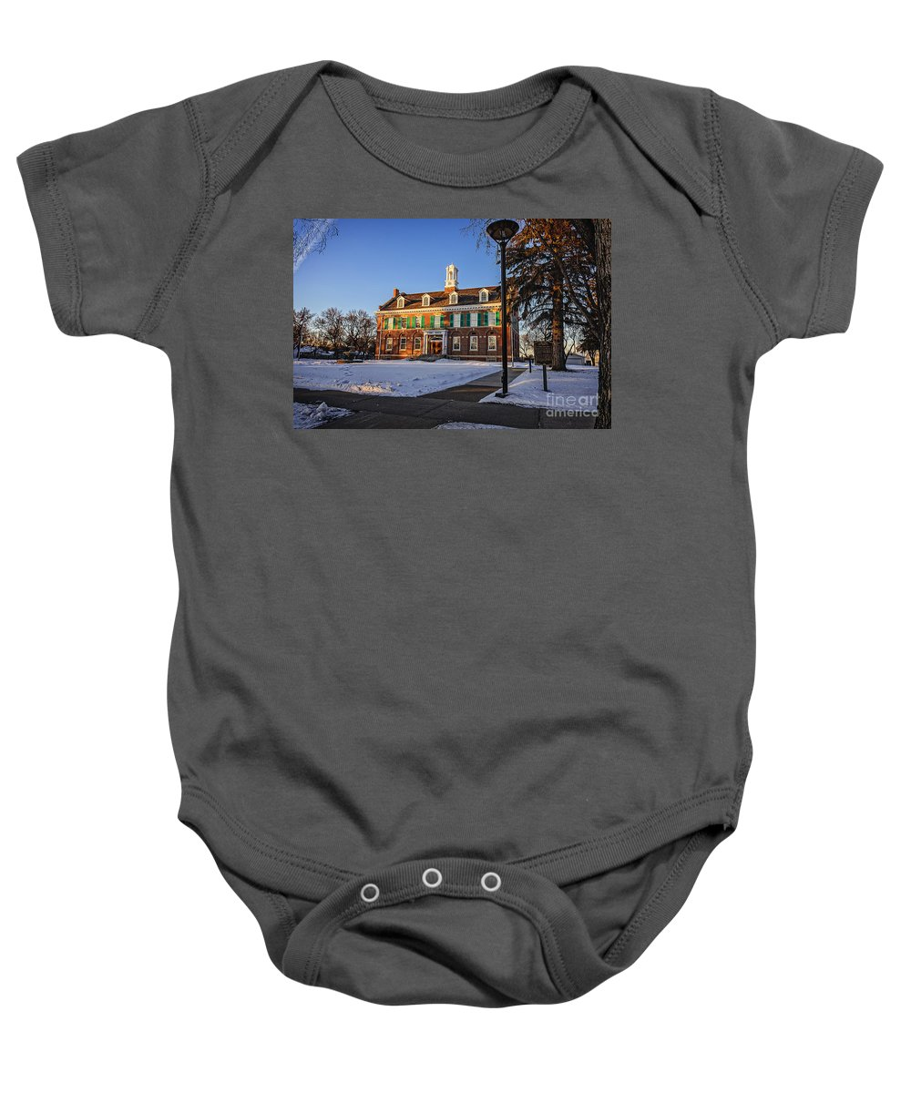 Court Baby Onesie featuring the photograph Court House In Winter Time by Viktor Birkus