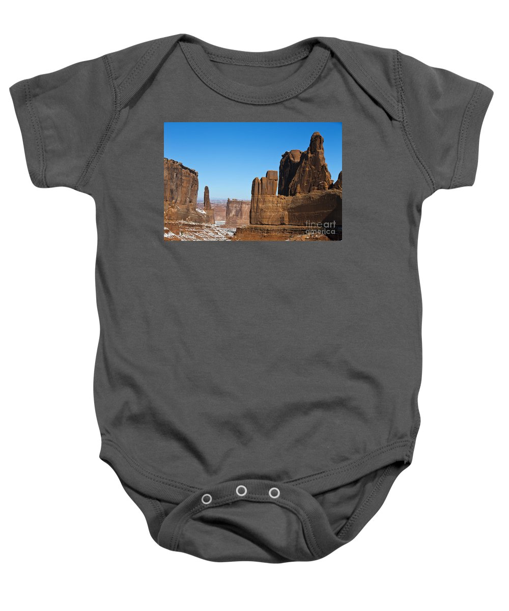 Arches Baby Onesie featuring the photograph Courthouse Towers Arches National Park Utah by Jason O Watson