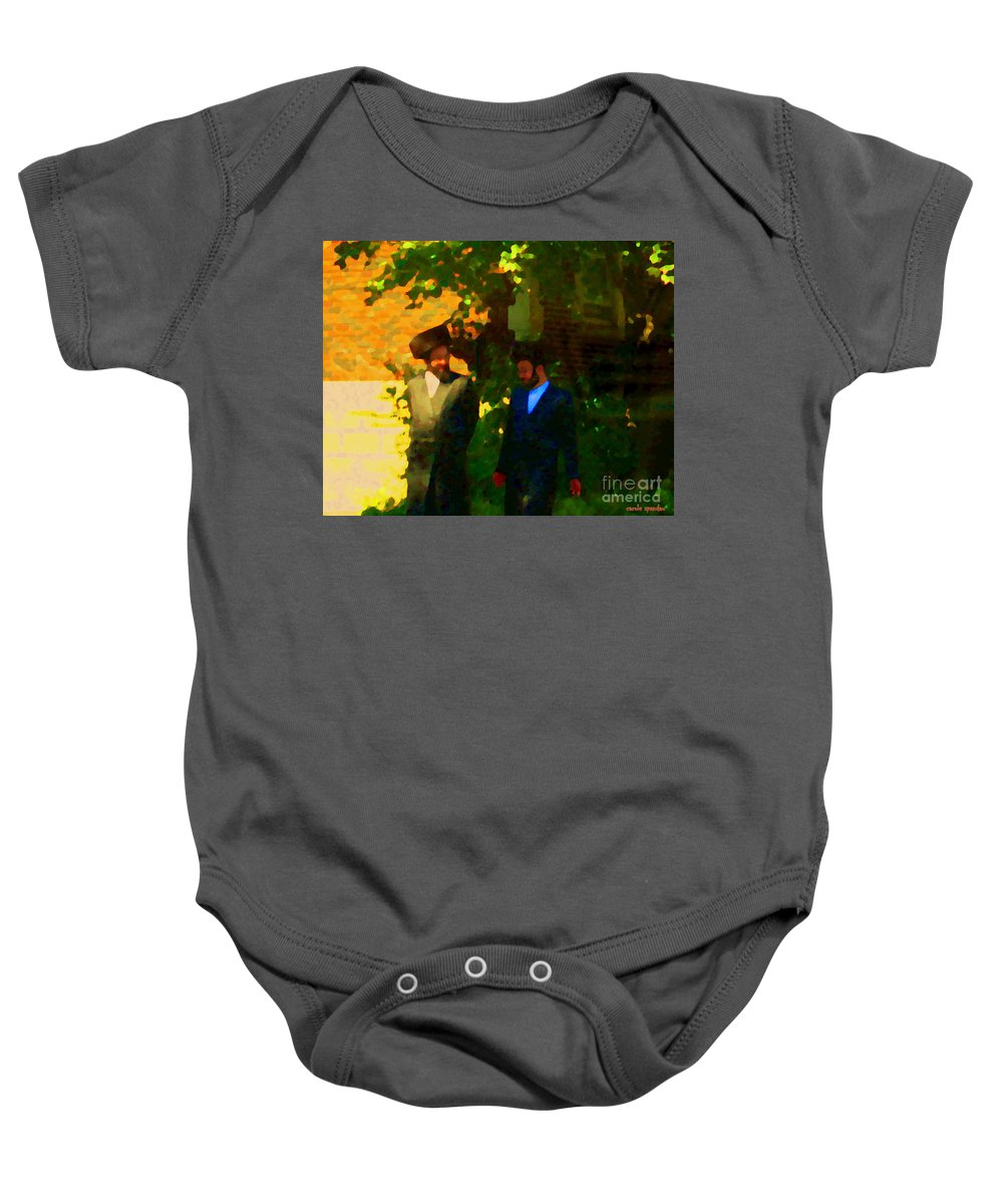 Montreal Baby Onesie featuring the painting Covenant Conversation Two Men Of God Hasidic Community Montreal City Scene Rabbinical Art Carole Spa by Carole Spandau