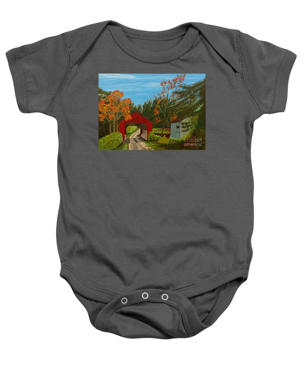 Path Baby Onesie featuring the painting Covered Bridge by Anthony Dunphy