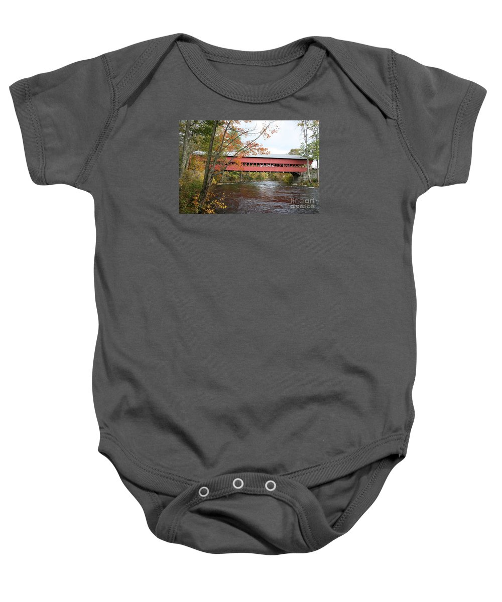 Covered Bridge Baby Onesie featuring the photograph Covered Bridge Over Swift River by Christiane Schulze Art And Photography
