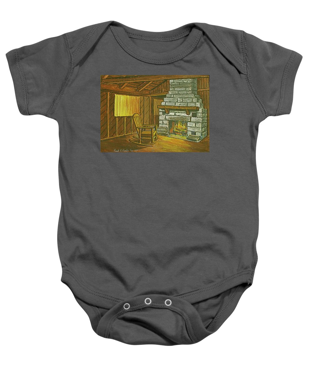 Cozy Fireplace Lake Hope Chimney Chair Yellow Curtains. Baby Onesie featuring the painting Cozy Fireplace At Lake Hope Ohio by Frank Hunter
