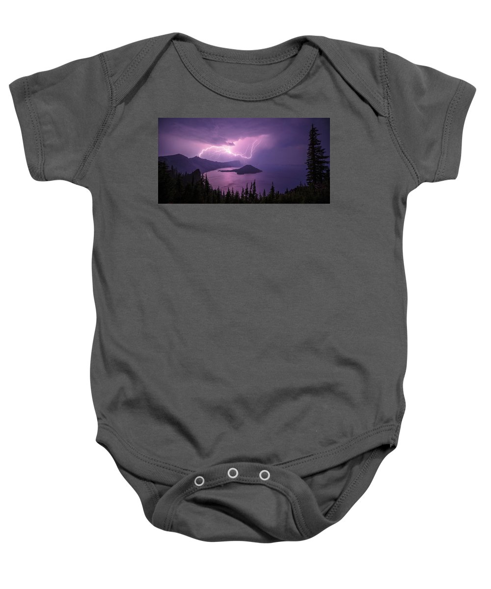 Crater Storm Baby Onesie featuring the photograph Crater Storm by Chad Dutson
