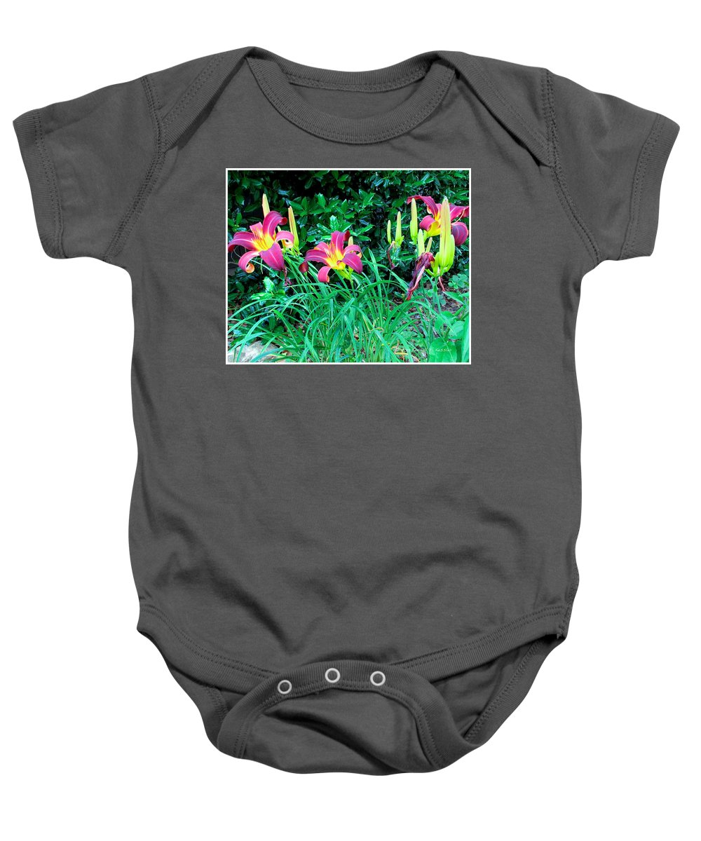 Day Lilies Flowers Baby Onesie featuring the photograph Crimson Flow by Kendall Kessler
