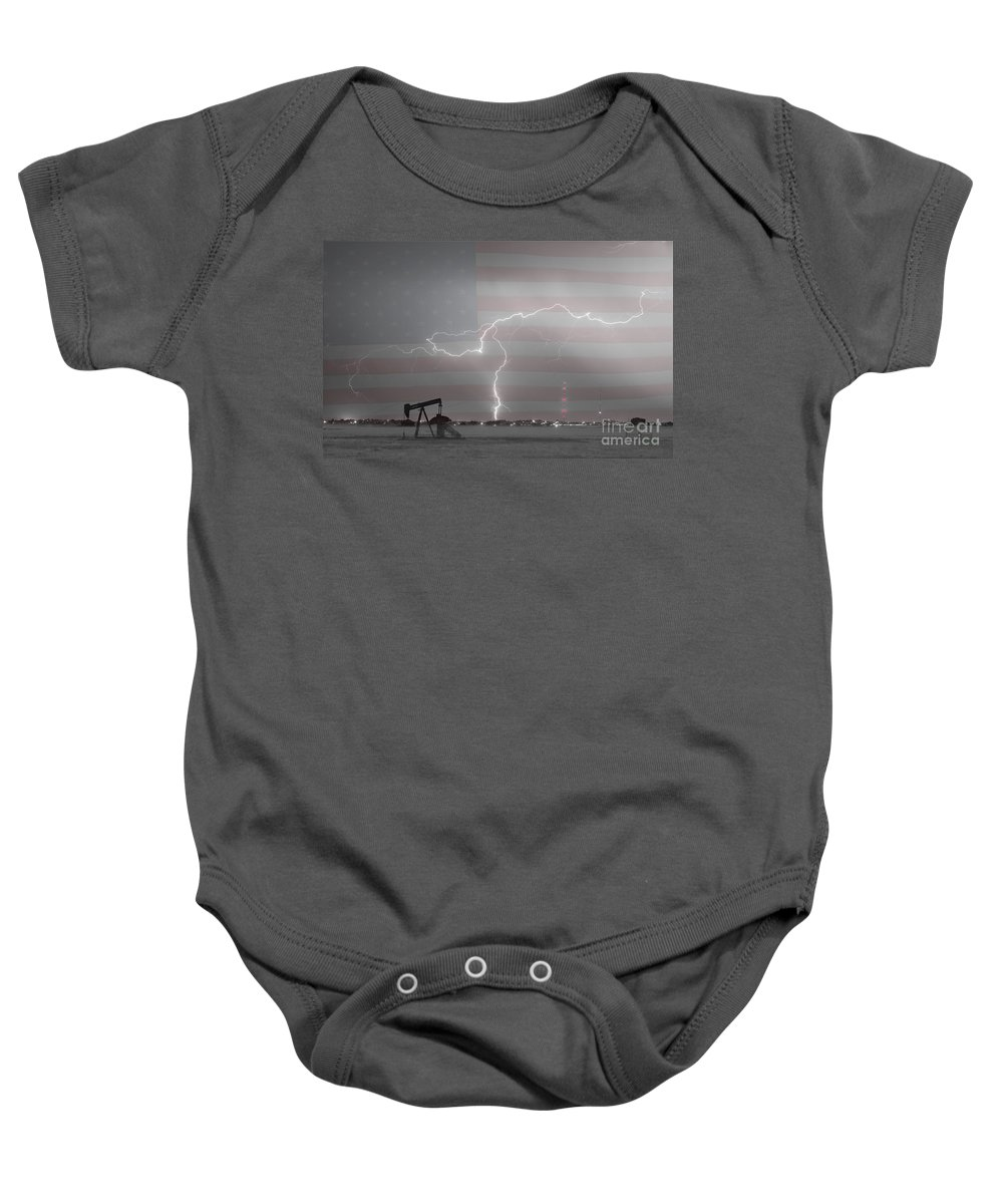 Lightning Baby Onesie featuring the photograph Crude Oil And Natural Gas Striking Across America Bwsc by James BO Insogna