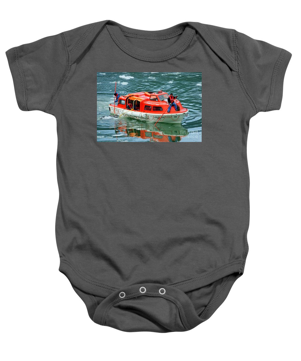 Cruise Tender Baby Onesie featuring the photograph Cruise Ship Tender Boat by Tap On Photo