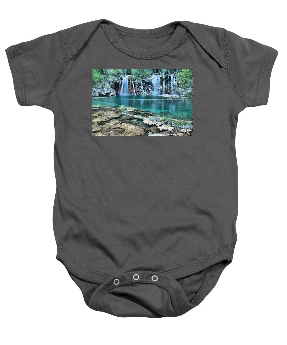 Hanging Lake Baby Onesie featuring the photograph Crystal Blue Waters by Adam Jewell