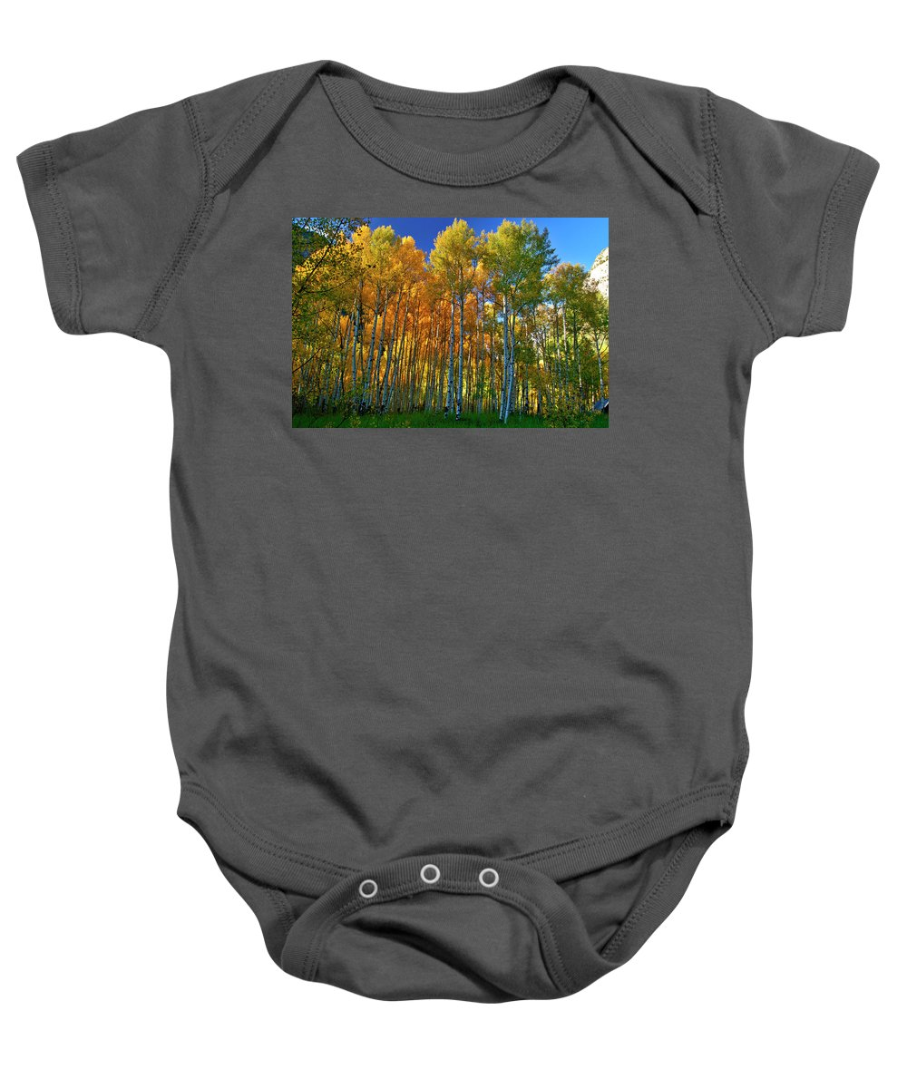 Fall Colors Baby Onesie featuring the photograph Crystal Grove by Jeremy Rhoades