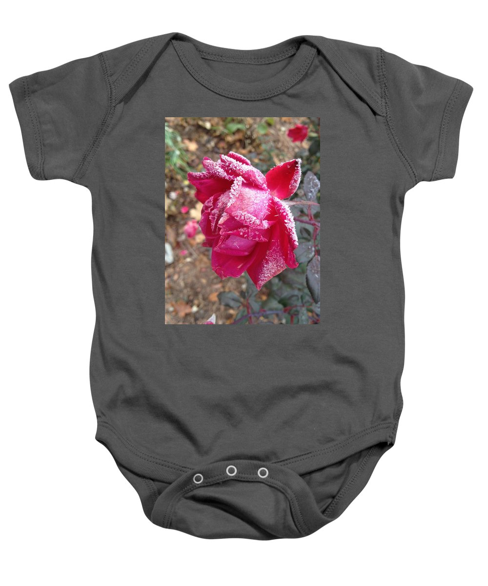 Frost Baby Onesie featuring the photograph Crystal Rose by Joseph Yarbrough