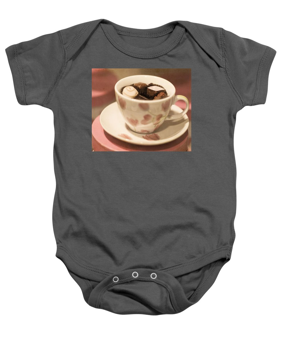 Beautiful Baby Onesie featuring the photograph Cup Of Chocolate by Juli Scalzi