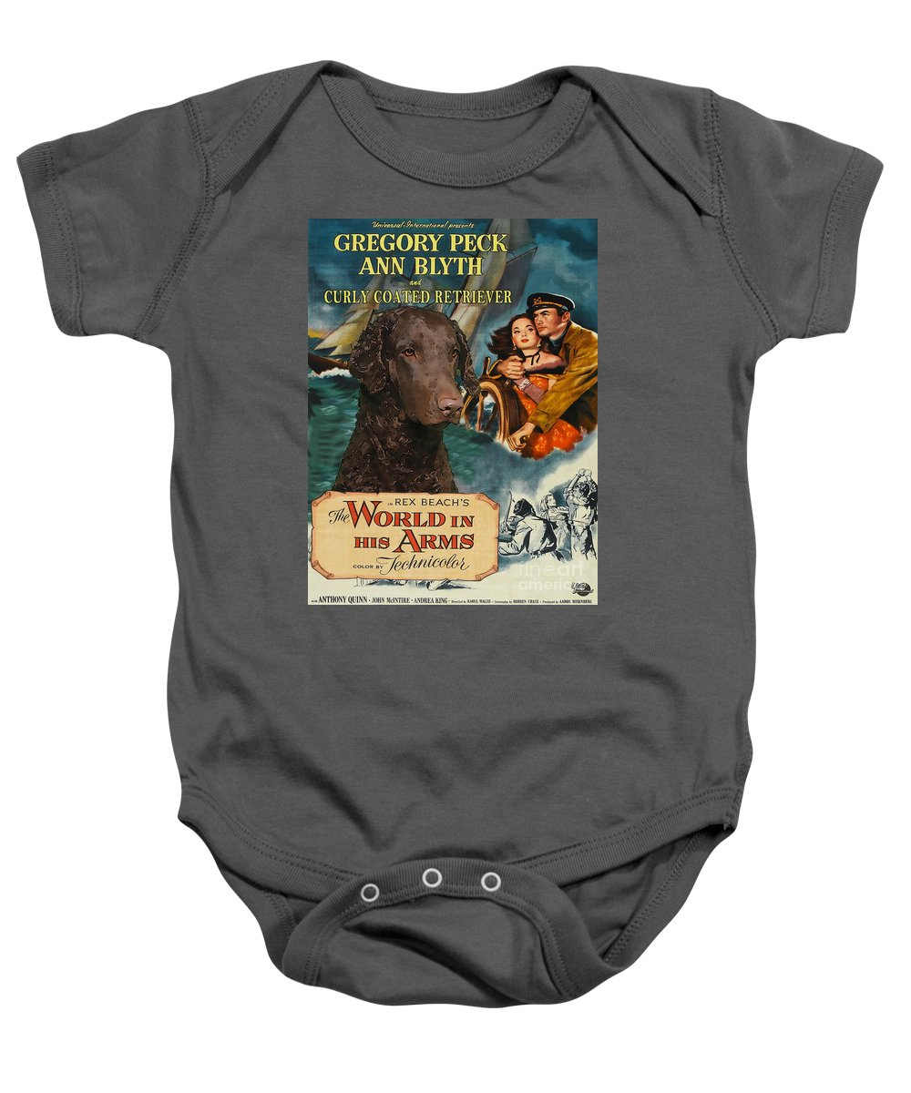 Dog Baby Onesie featuring the painting Curly Coated Retriever Art - The World In His Arms Movie Poster by Sandra Sij
