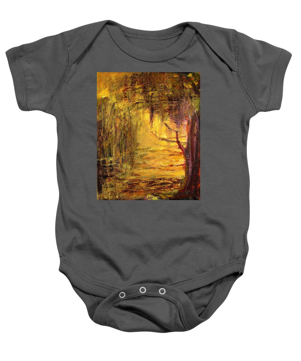 Nature Baby Onesie featuring the painting Cypress by Julianne Felton