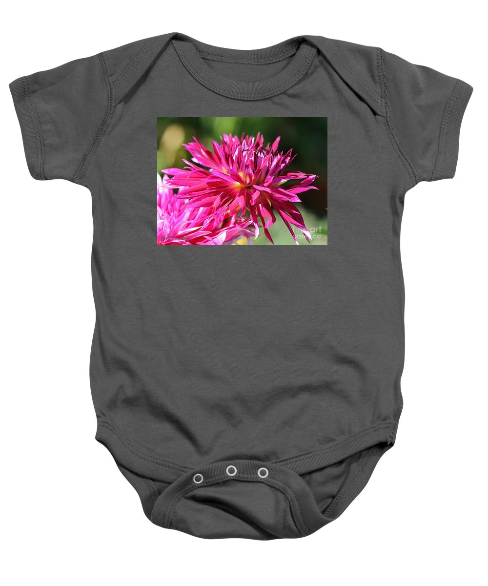 Mccombie Baby Onesie featuring the painting Dahlia Named Normandy Wild Willie by J McCombie