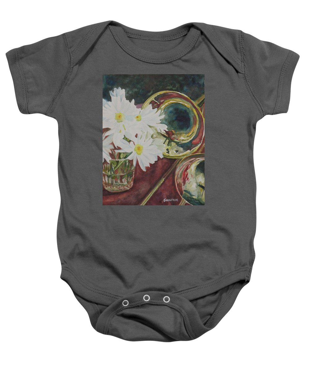Daisies Baby Onesie featuring the painting Daisies Bold As Brass by Jenny Armitage