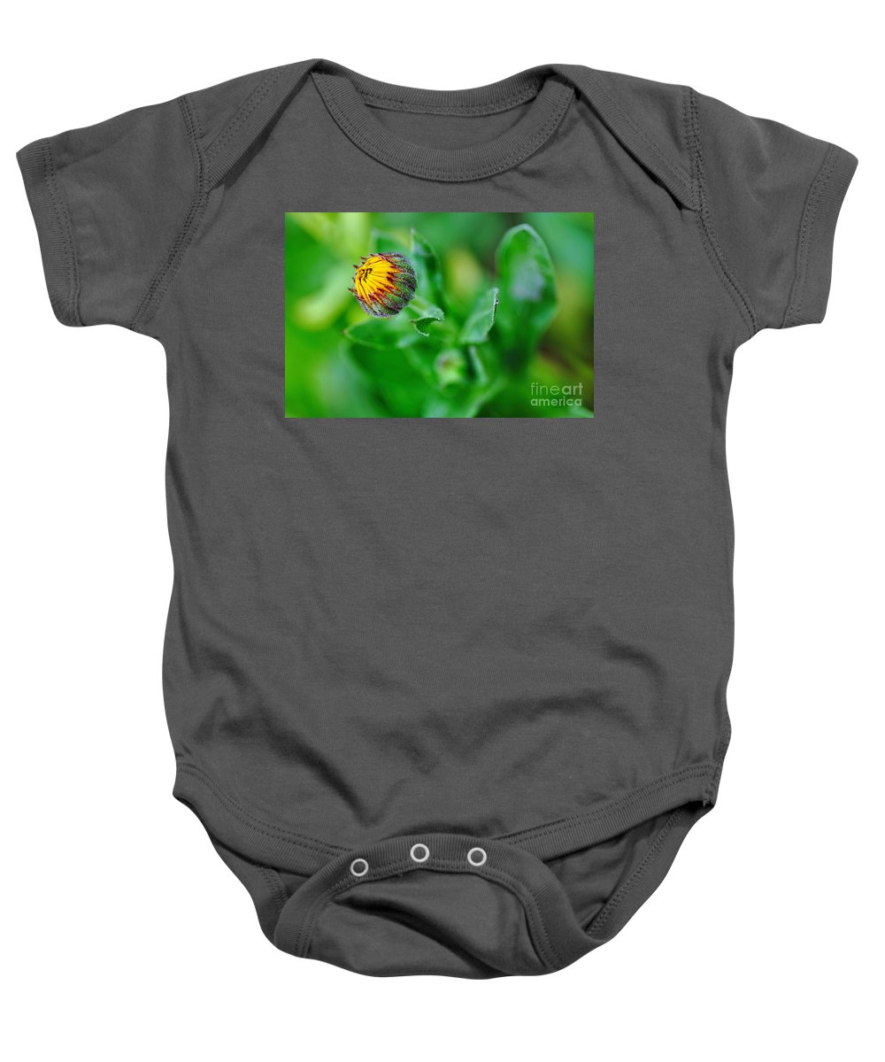 Photography Baby Onesie featuring the photograph Daisy Bud Ready To Bloom by Kaye Menner