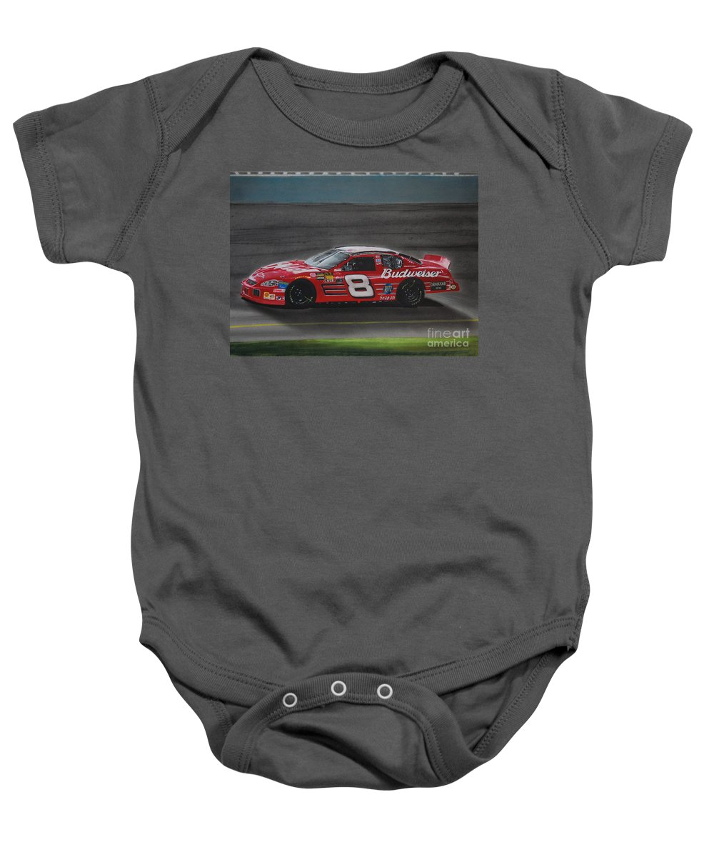 Car Baby Onesie featuring the drawing Dale Earnhardt Junior At California by Paul Kuras