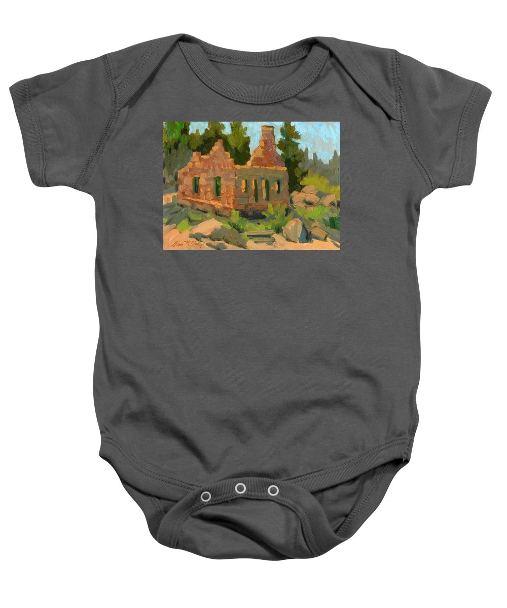 Bog Bear Lake Baby Onesie featuring the painting Dam Watcher's Old Home by Diane McClary