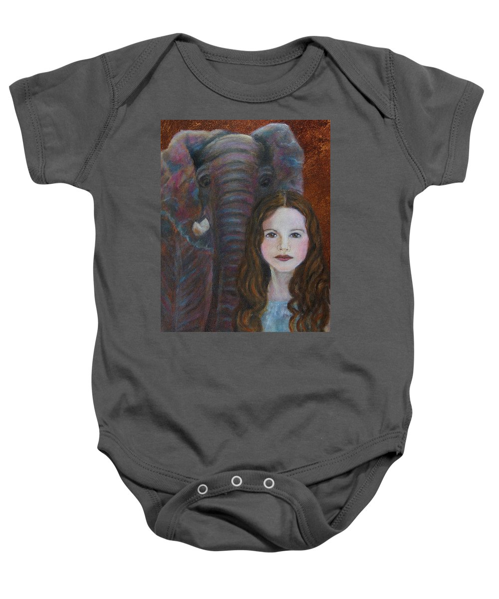 Angel Baby Onesie featuring the painting Darra Little Angel Of                  Feminine Wisdom And Understanding by The Art With A Heart By Charlotte Phillips