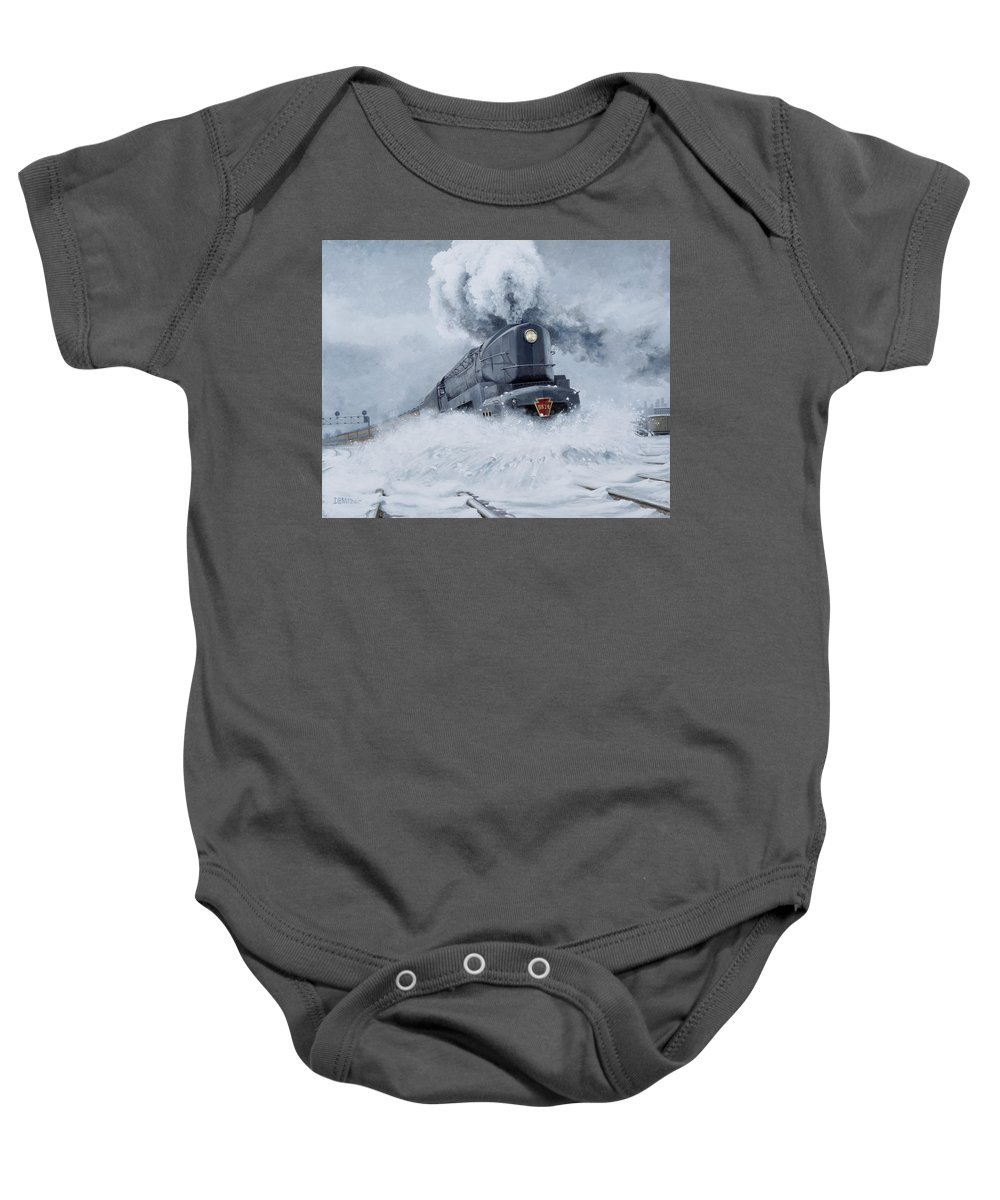 Trains Baby Onesie featuring the painting Dashing Through The Snow by David Mittner