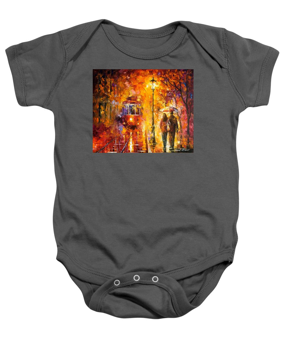 Oil Paintings Baby Onesie featuring the painting Date By The Trolley - Palette Knife Oil Painting On Canvas By Leonid Afremov by Leonid Afremov