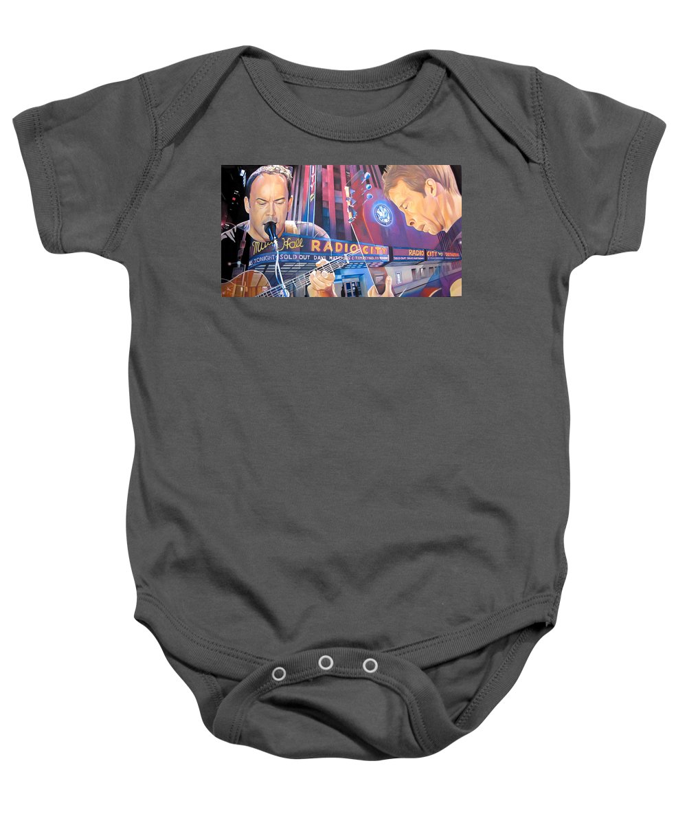 Dave Matthews Baby Onesie featuring the drawing Dave Matthews And Tim Reynolds At Radio City by Joshua Morton