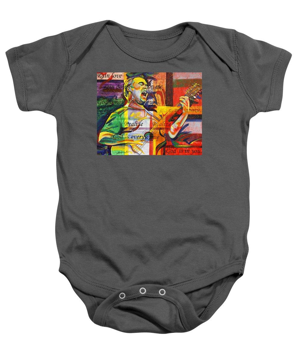 Dave Matthews Baby Onesie featuring the painting Dave Matthews-bartender by Joshua Morton