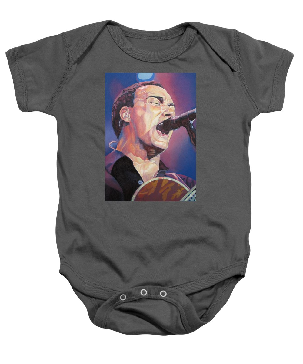Dave Matthews Baby Onesie featuring the drawing Dave Matthews Colorful Full Band Series by Joshua Morton