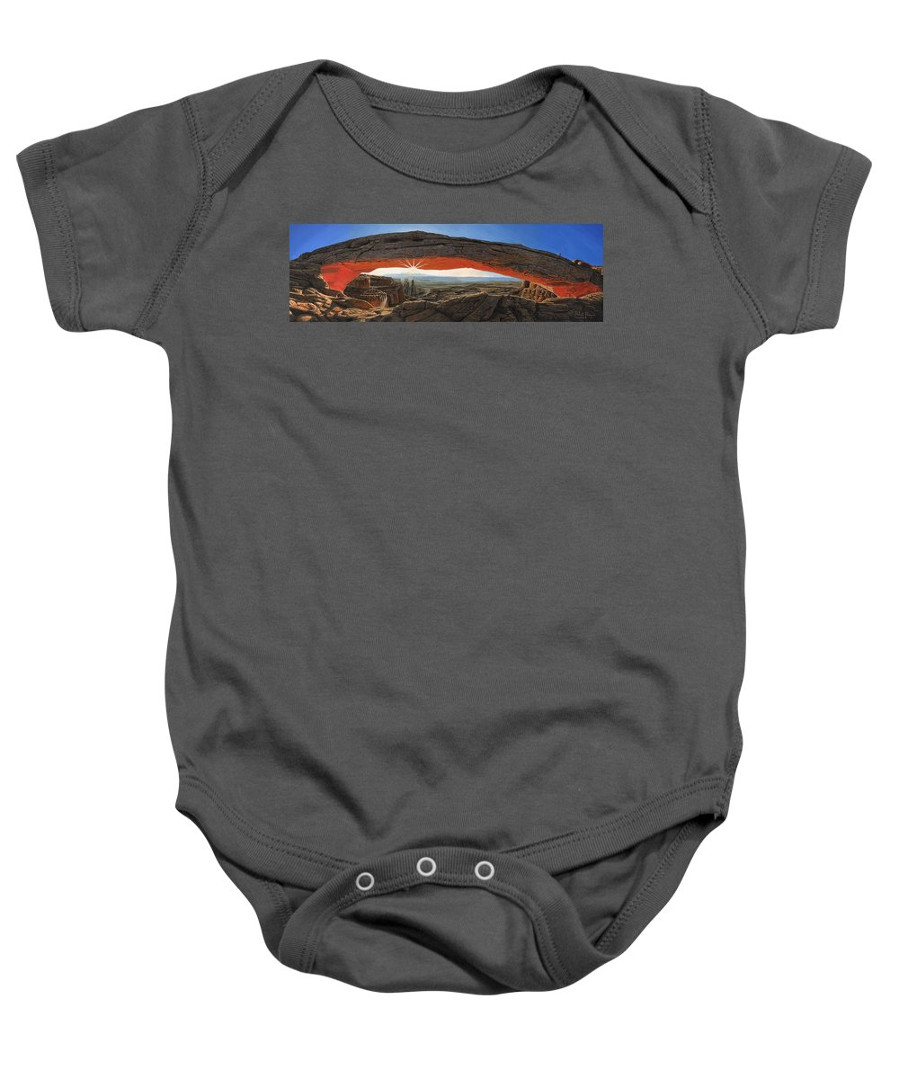Mesa Arch Baby Onesie featuring the painting Dawn At Mesa Arch Canyonlands Utah by Richard Harpum