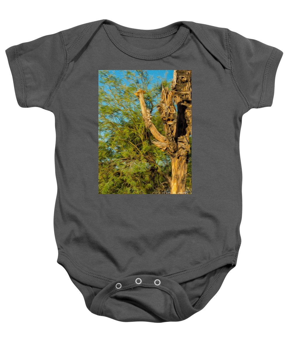 Saguaro Baby Onesie featuring the photograph Dead Saguaro Cactus 2 by Larry White