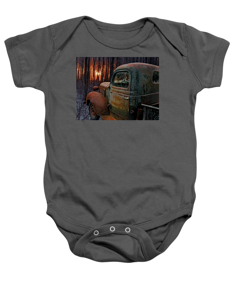 Pickup Baby Onesie featuring the photograph Deer Hunting by Ron Day