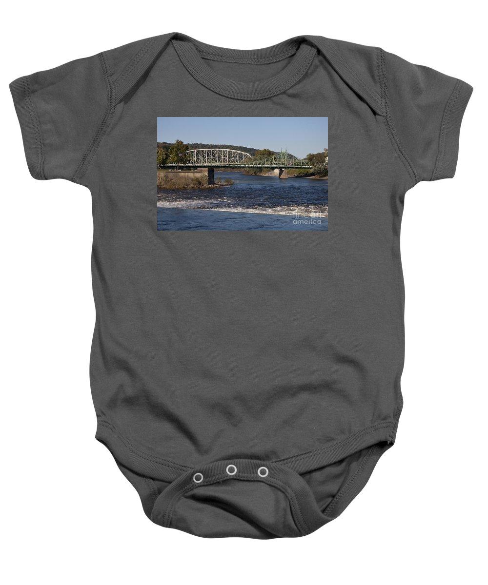 Northampton Street Bridge Baby Onesie featuring the photograph Delaware River Easton Pennsylvania by Jason O Watson