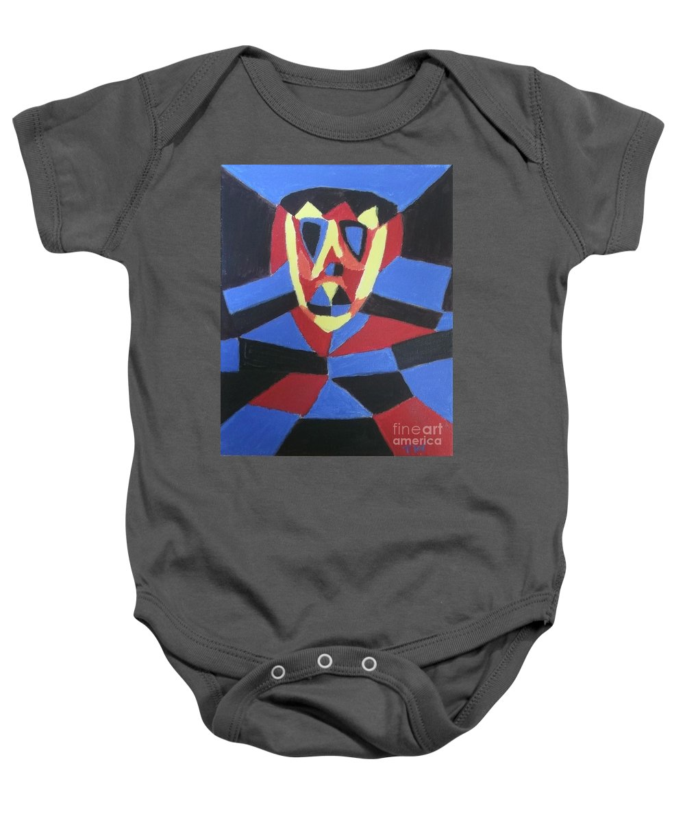 Demon Warrior Baby Onesie featuring the painting Demon Warrior by Tracey Williams