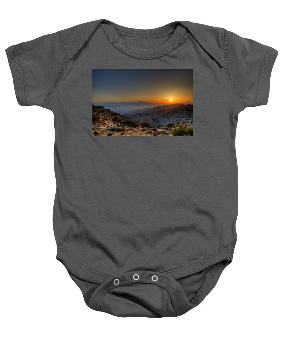 Desert Baby Onesie featuring the photograph Desert Sunset by Dave Files