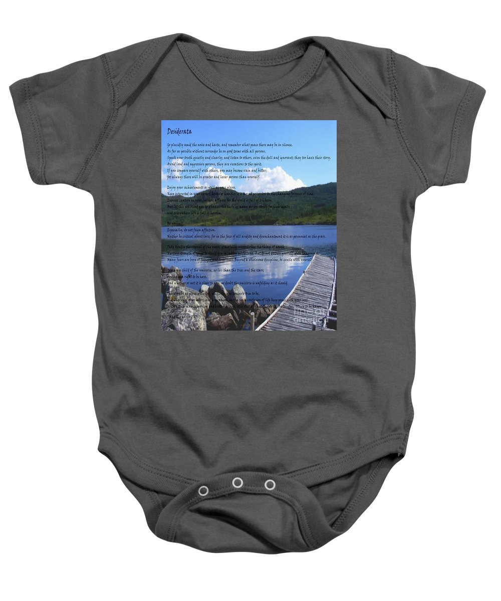 Desiderata Baby Onesie featuring the photograph Desiderata On Pond Scene With Mountains by Barbara Griffin