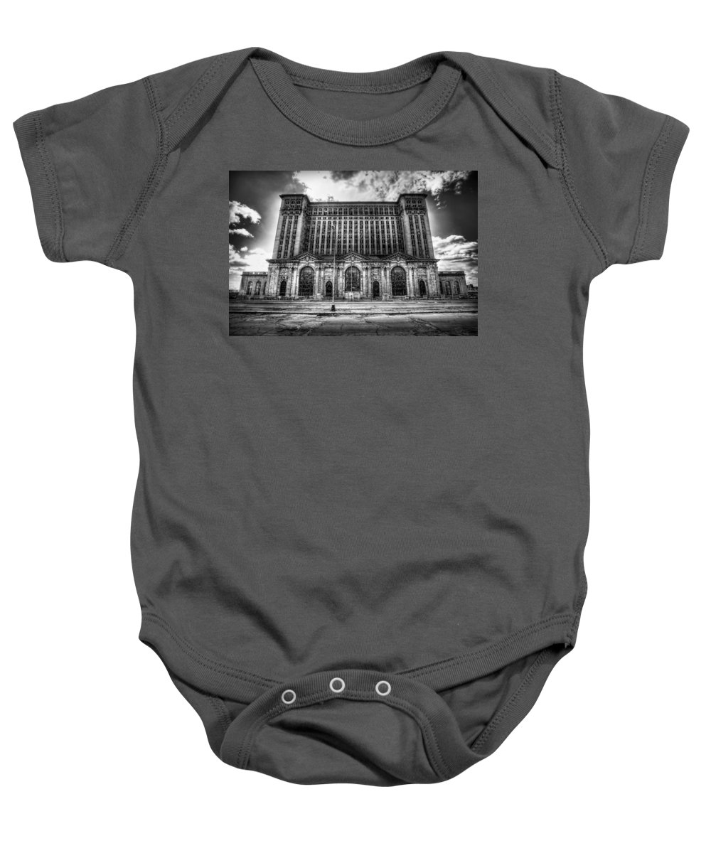 Detroit Baby Onesie featuring the photograph Detroit's Abandoned Michigan Central Train Station Depot In Black And White by Gordon Dean II
