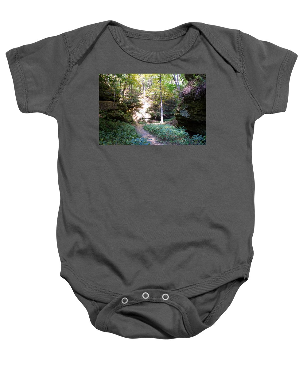 Devil's Punch Bowl Wildcat Den Muscatine Ia Baby Onesie featuring the photograph Devil's Punch Bowl Wildcat Den by Cynthia Woods