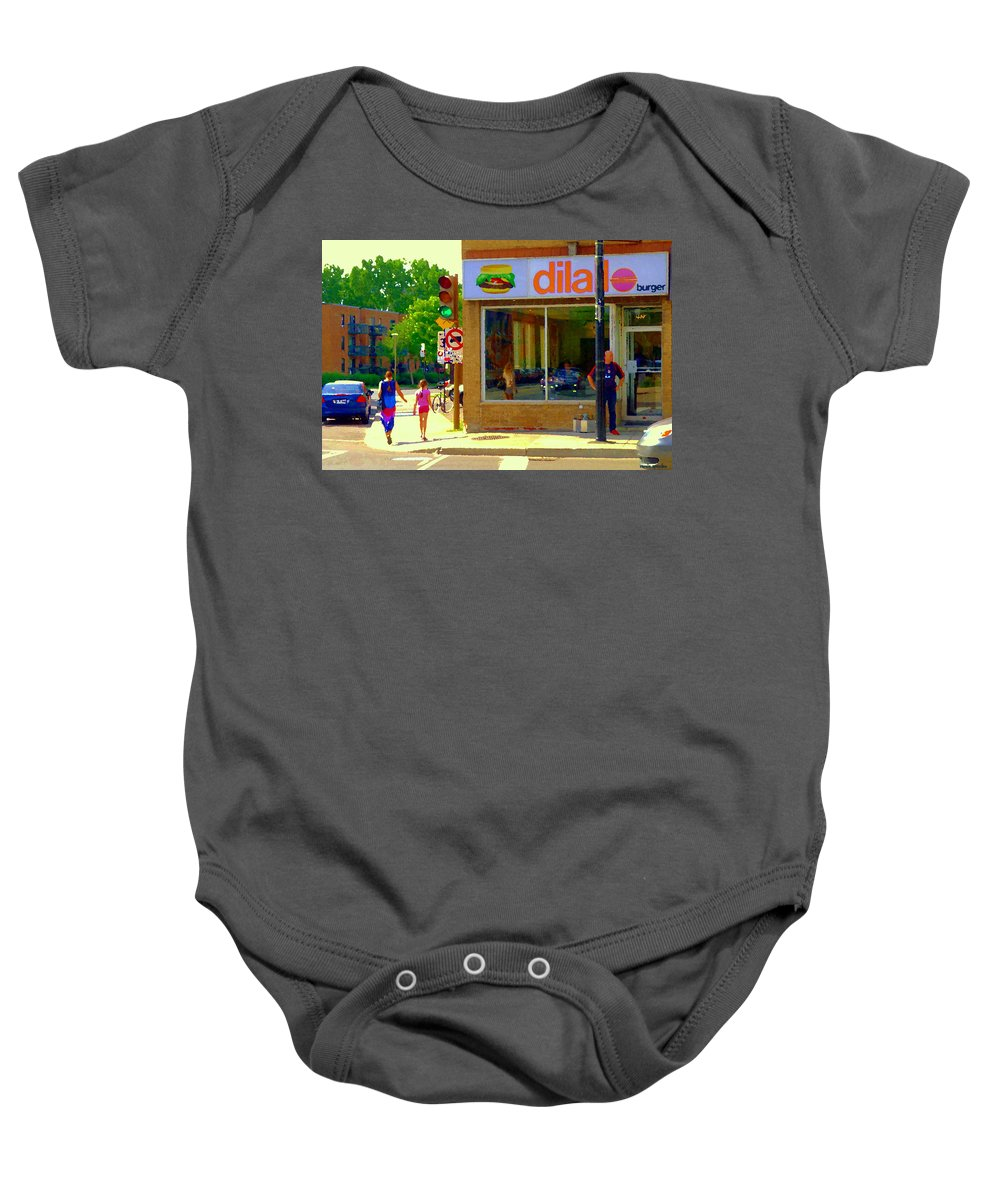 St.henri Baby Onesie featuring the painting Dilallo Notre Dame Ouest And Charlevoix Sunny Street Montreal Urban City Scene Carole Spandau by Carole Spandau