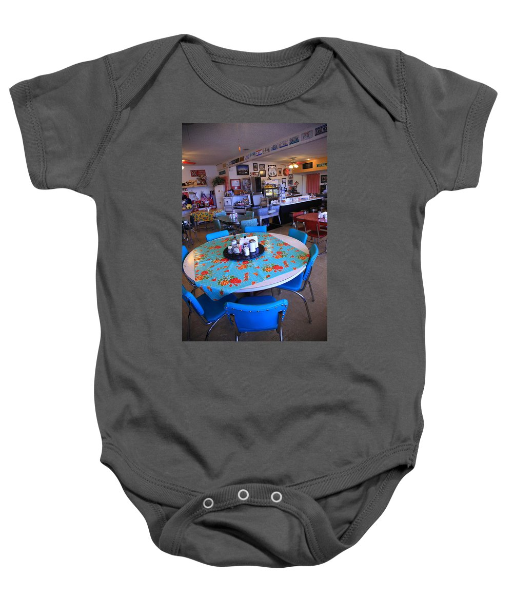 66 Baby Onesie featuring the photograph Diner On Route 66 by Frank Romeo