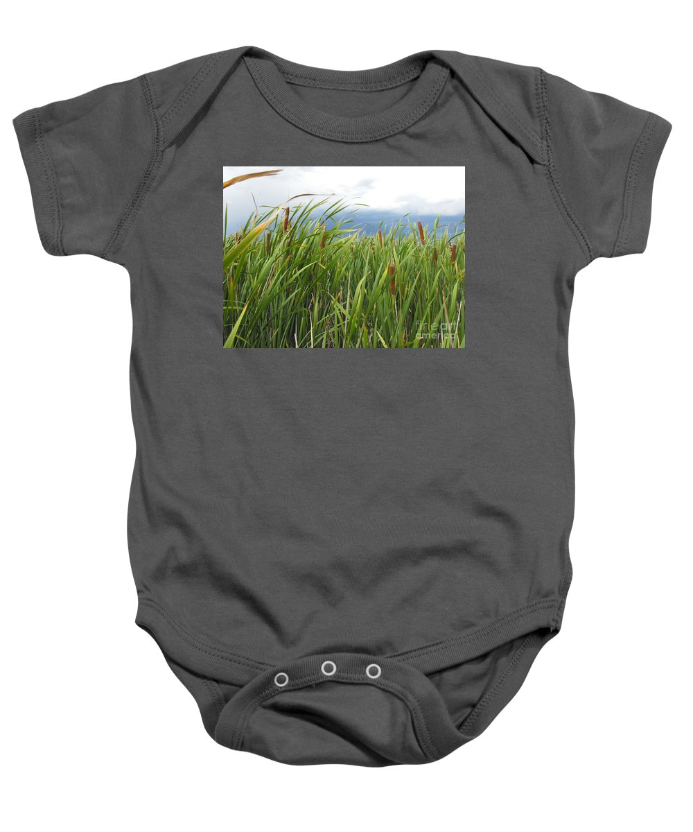 Cattails Baby Onesie featuring the photograph Dobie Swamp Tails by Brandi Maher