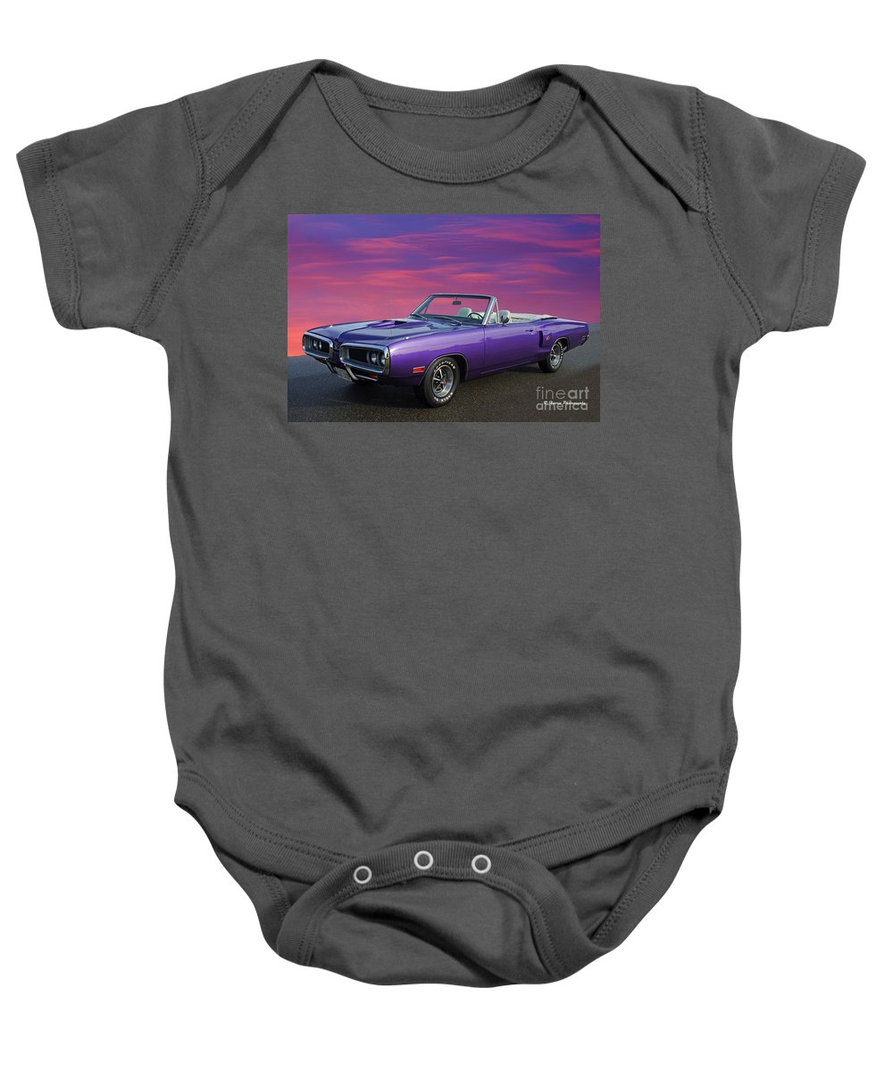 Cars Baby Onesie featuring the photograph Dodge Rt Purple Sunset by Randy Harris