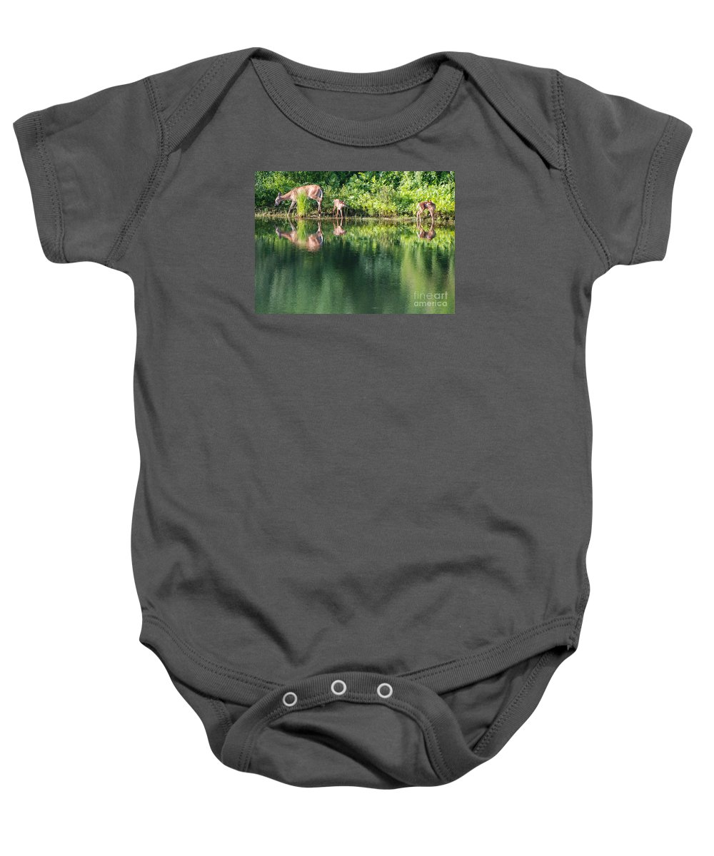 Deer Baby Onesie featuring the photograph Doe And Fawns At The Pond by Amy Porter