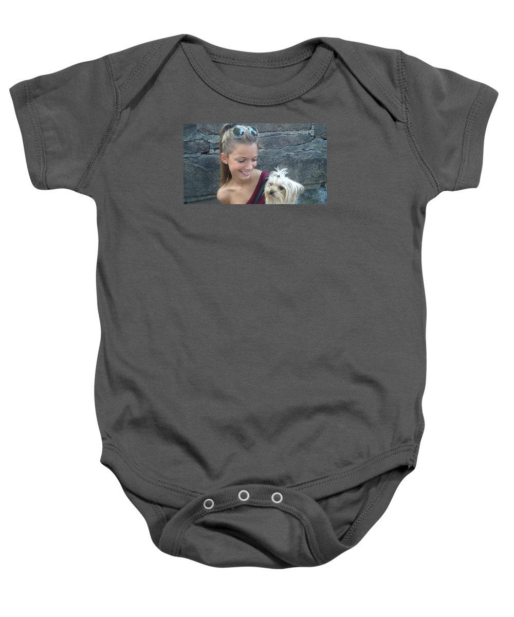 Dog And Friend Baby Onesie featuring the photograph Dog And True Friendship 4 by Teo SITCHET-KANDA