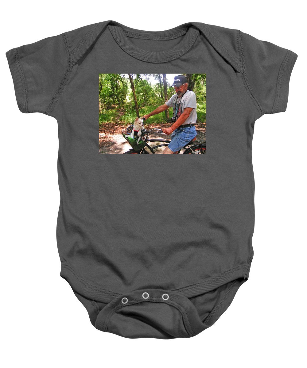 Expressive Baby Onesie featuring the photograph Dog In A Basket by Lenore Senior