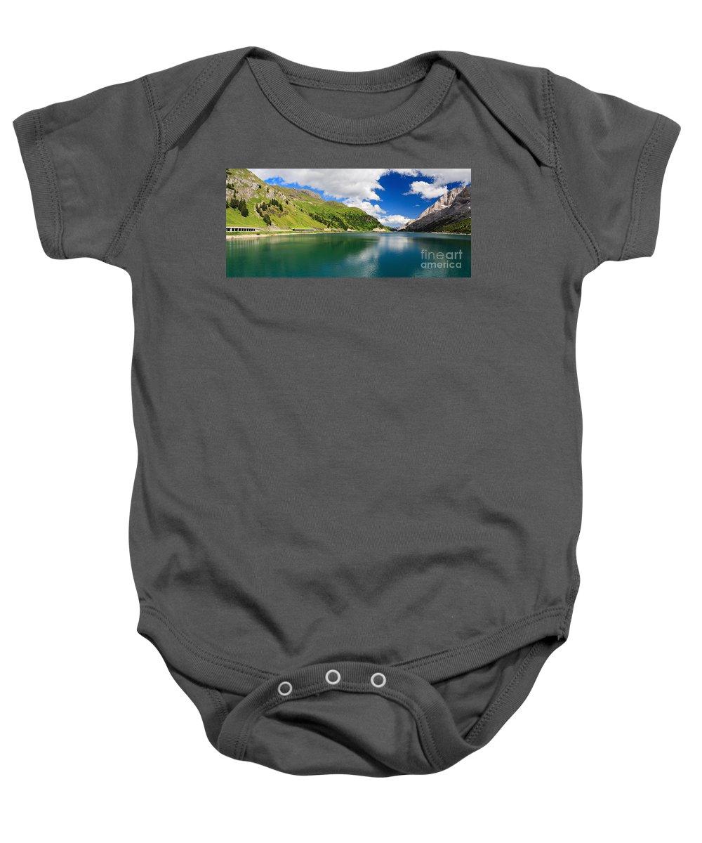 Alpine Baby Onesie featuring the photograph Dolomiti - Fedaia Lake by Antonio Scarpi