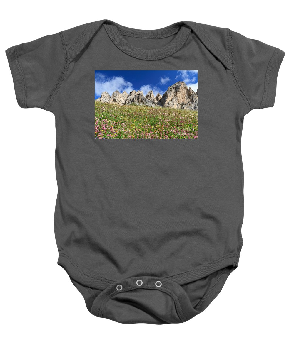 Alpine Baby Onesie featuring the photograph Dolomiti - Flowered Meadow by Antonio Scarpi
