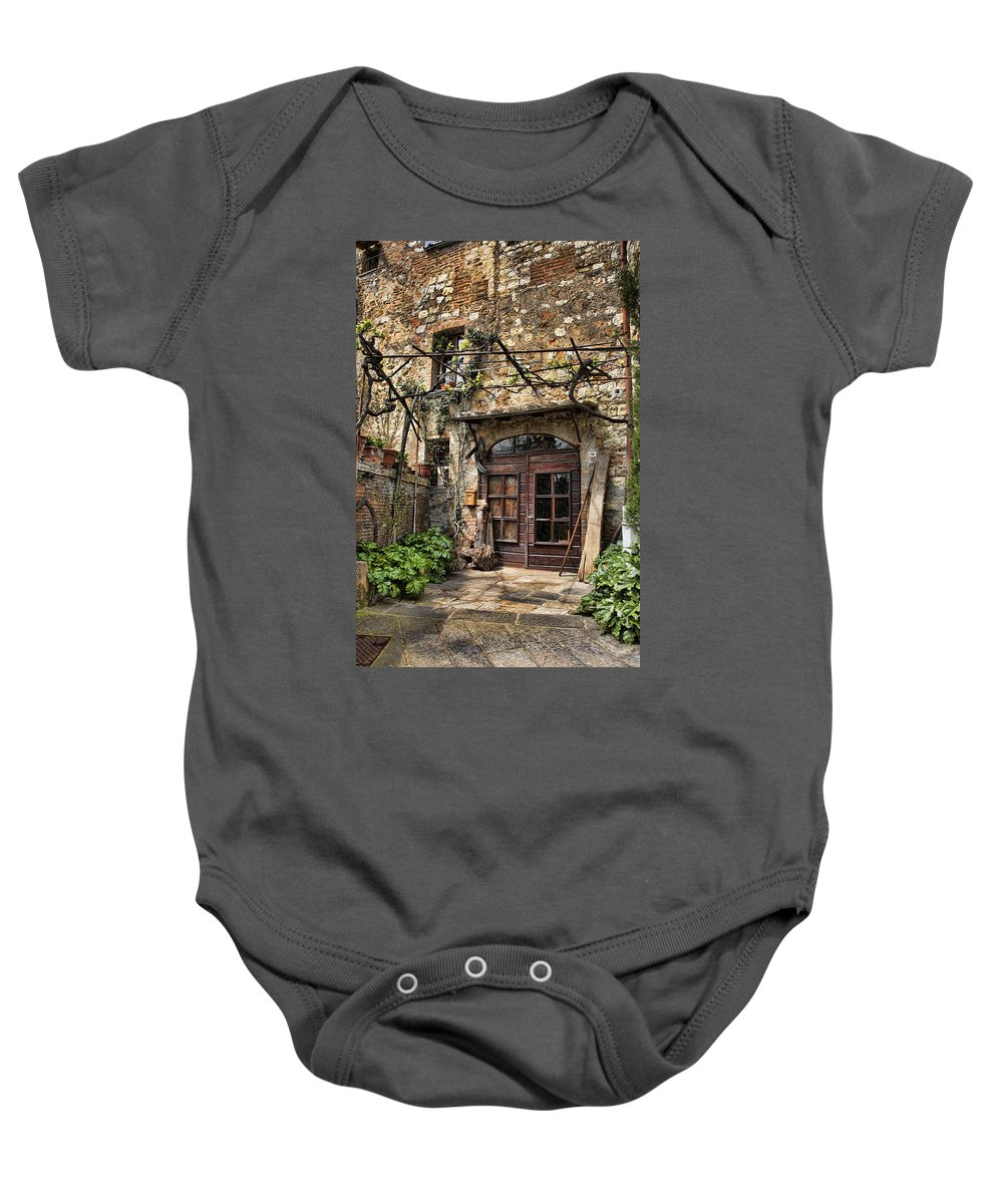Montepulciano Baby Onesie featuring the photograph Door Montepulciano Italy by Hugh Smith