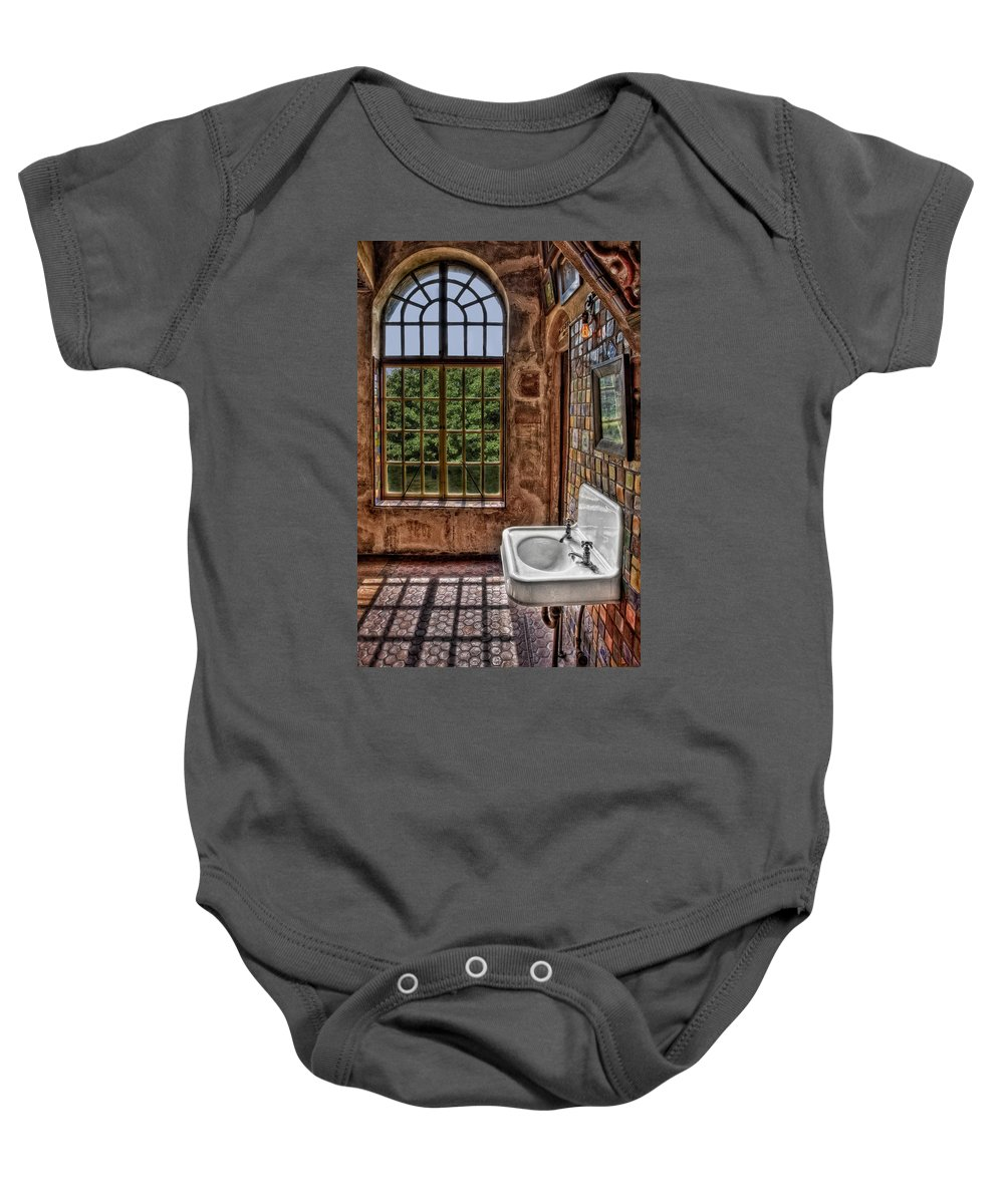 Byzantine Baby Onesie featuring the photograph Dorm Bathroom Side View by Susan Candelario